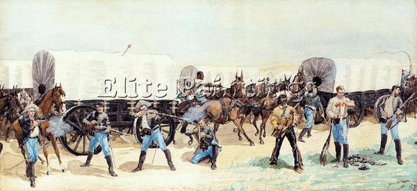 FREDERIC REMINGTON ATTACK ON THE SUPPLY TRAIN ARTIST PAINTING REPRODUCTION OIL