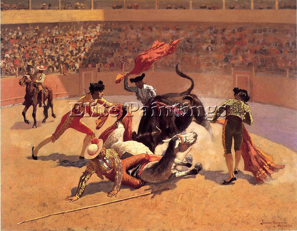 FREDERIC REMINGTON BULL FIGHT IN MEXICO ARTIST PAINTING REPRODUCTION HANDMADE