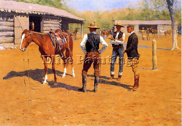 FREDERIC REMINGTON BUYING POLO PONIES IN THE WEST ARTIST PAINTING REPRODUCTION