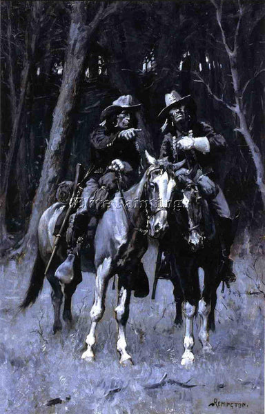 REMINGTON CHEYENNE SCOUTS PATROLLING BIG TIMBER NORTH CANADIAN OKLAHOMA PAINTING