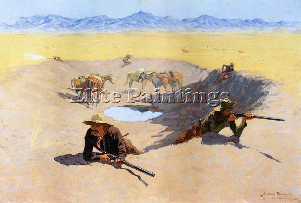 FREDERIC REMINGTON FIGHT FOR THE WATER HOLE ARTIST PAINTING HANDMADE OIL CANVAS