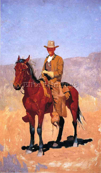 FREDERIC REMINGTON MOUNTED COWBOY IN CHAPS WITH RACE HORSE ARTIST PAINTING REPRO