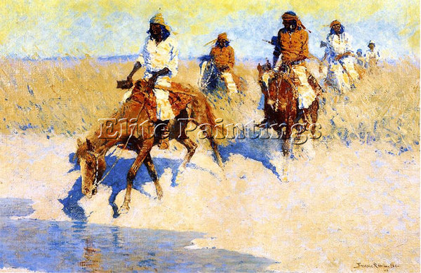 FREDERIC REMINGTON POOL IN THE DESERT ARTIST PAINTING REPRODUCTION HANDMADE OIL