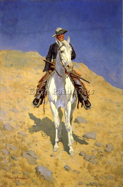 FREDERIC REMINGTON SELF PORTRAIT ON A HORSE ARTIST PAINTING HANDMADE OIL CANVAS