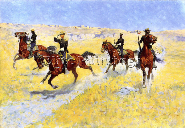 FREDERIC REMINGTON THE ADVANCE ARTIST PAINTING REPRODUCTION HANDMADE OIL CANVAS