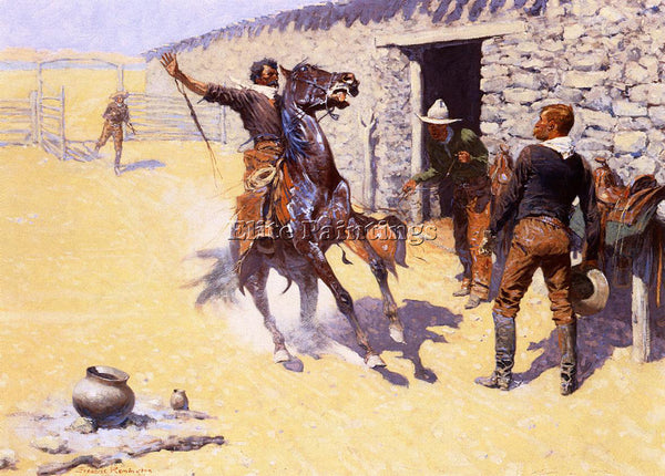 FREDERIC REMINGTON THE APACHES! ARTIST PAINTING REPRODUCTION HANDMADE OIL CANVAS