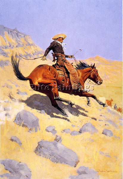 FREDERIC REMINGTON THE COWBOY ARTIST PAINTING REPRODUCTION HANDMADE CANVAS REPRO