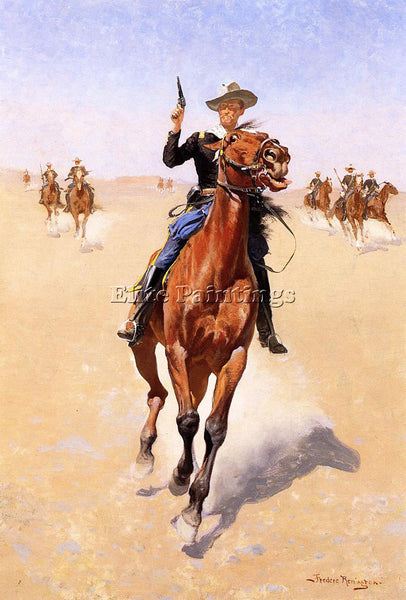 FREDERIC REMINGTON THE TROOPER ARTIST PAINTING REPRODUCTION HANDMADE OIL CANVAS
