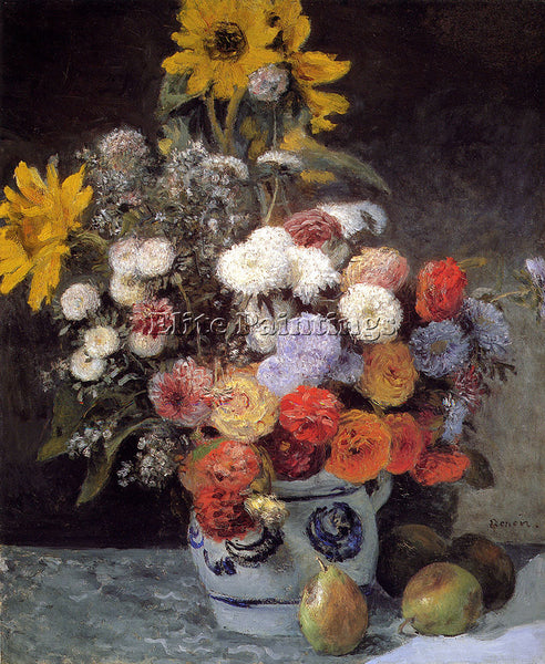 PIERRE AUGUSTE RENOIR MIXED FLOWERS IN AN EARTHENWARE POT ARTIST PAINTING CANVAS