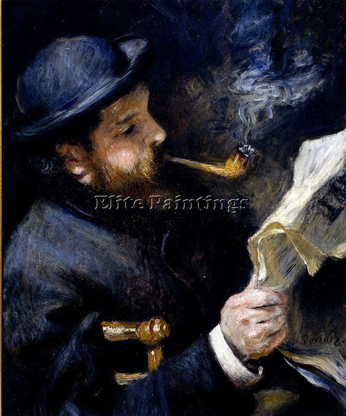 PIERRE AUGUSTE RENOIR CLAUDE MONET READING A NEWSPAPER ARTIST PAINTING HANDMADE