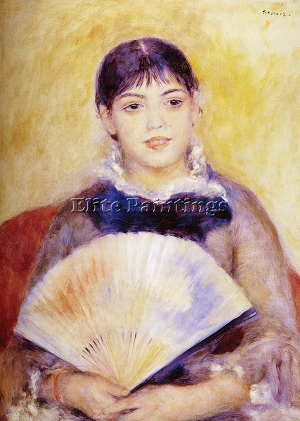 PIERRE AUGUSTE RENOIR GIRL WITH A FAN ARTIST PAINTING REPRODUCTION HANDMADE OIL