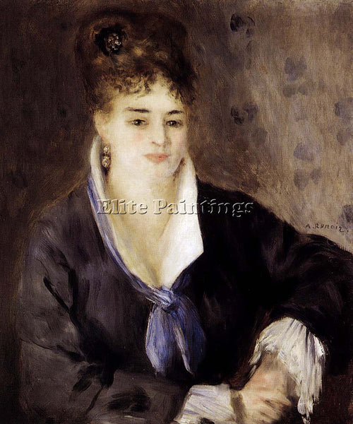 PIERRE AUGUSTE RENOIR WOMAN IN BLACK ARTIST PAINTING REPRODUCTION HANDMADE OIL