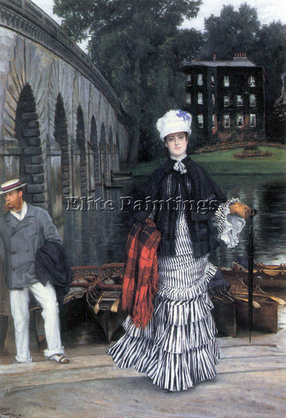TISSOT RETURN OF THE BOAT TRIP ARTIST PAINTING REPRODUCTION HANDMADE OIL CANVAS