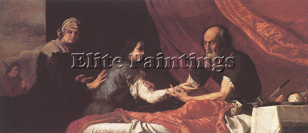JUSEPE DE RIBERA JACOB RECEIVES ISAAC S BLESSING ARTIST PAINTING HANDMADE CANVAS