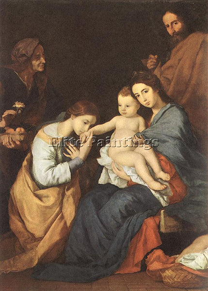 JUSEPE DE RIBERA THE HOLY FAMILY WITH ST CATHERINE ARTIST PAINTING REPRODUCTION