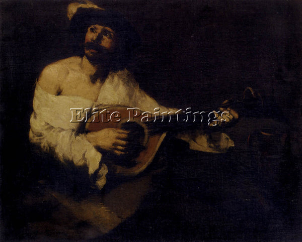 THEODULE AUGUSTINE RIBOT THE MANDOLIN PLAYER ARTIST PAINTING HANDMADE OIL CANVAS
