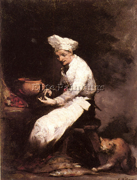 THEODULE AUGUSTINE RIBOT THE COOK AND THE CAT ARTIST PAINTING REPRODUCTION OIL