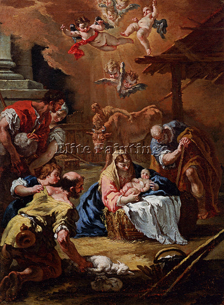 SEBASTIANO RICCI ADORATION OF THE SHEPHERDS ARTIST PAINTING HANDMADE OIL CANVAS