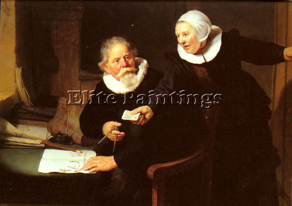 REMBRANDT RIJN VAN JAN RIJCKSEN AND HIS WIFE ARTIST PAINTING HANDMADE OIL CANVAS
