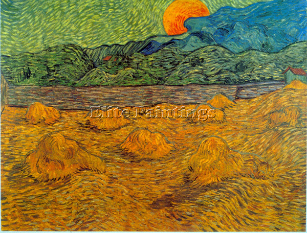 VAN GOGH RISING MOON ARTIST PAINTING REPRODUCTION HANDMADE OIL CANVAS REPRO WALL