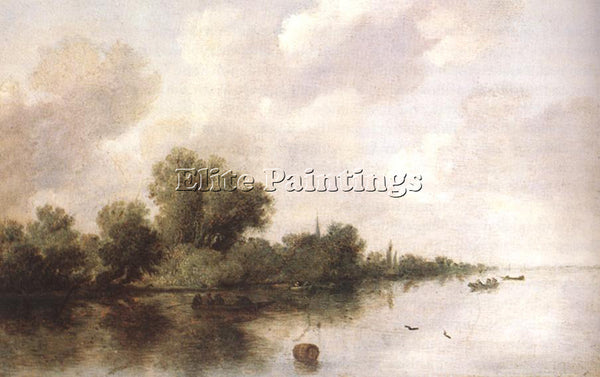 SALOMON VAN RUYSDAEL RIVER SCENE1 ARTIST PAINTING REPRODUCTION HANDMADE OIL DECO