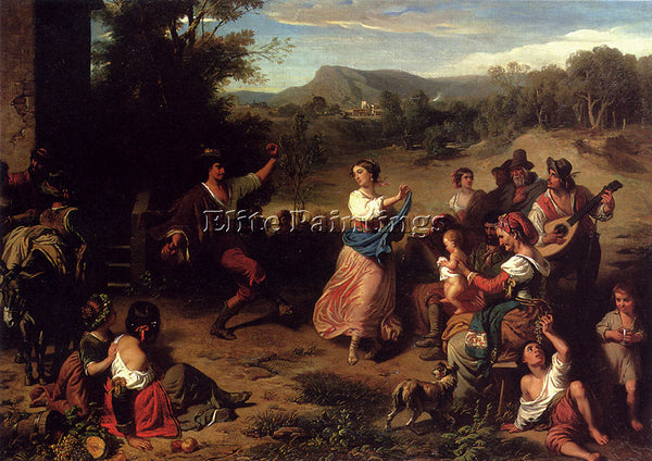 SWISS ROBERT LEOPOLD LOUIS THE FIESTA ARTIST PAINTING REPRODUCTION HANDMADE OIL