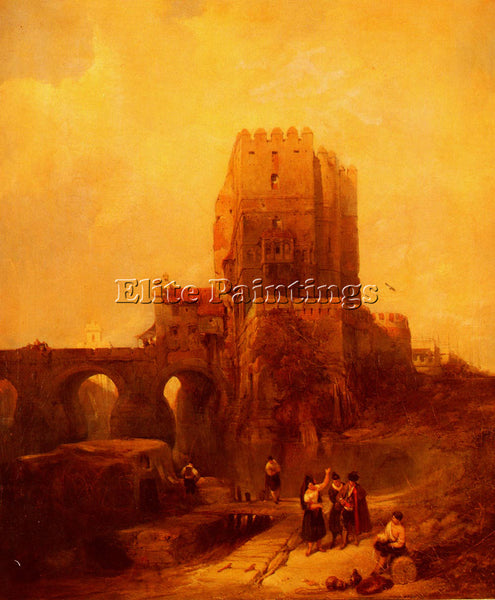 DAVID ROBERTS MOORISH TOWER ON THE BRIDGE AT CORDIVA ARTIST PAINTING HANDMADE
