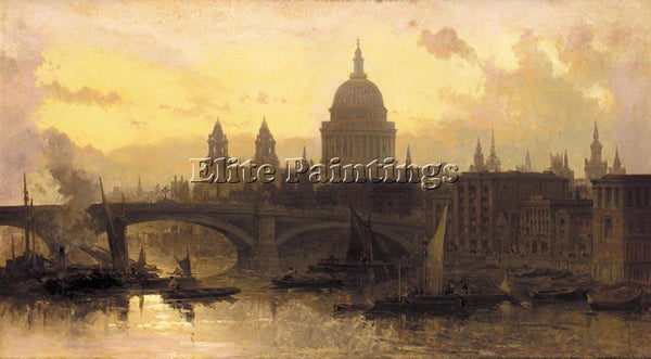 DAVID ROBERTS ST PAULS FROM THE THAMES LOOKING WEST ARTIST PAINTING REPRODUCTION