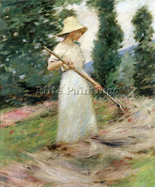 THEODORE ROBINSON GIRL RAKING HAY ARTIST PAINTING REPRODUCTION HANDMADE OIL DECO
