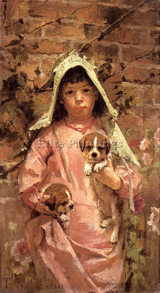 THEODORE ROBINSON GIRL WITH PUPPIES ARTIST PAINTING REPRODUCTION HANDMADE OIL