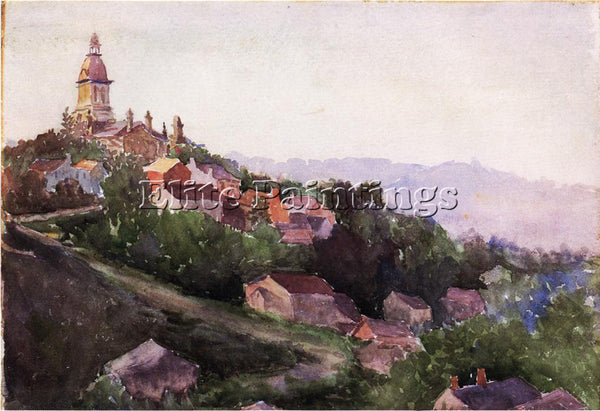THEODORE ROBINSON HOUSES IN FRANCE ARTIST PAINTING REPRODUCTION HANDMADE OIL ART