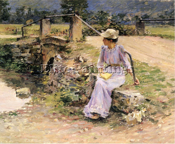 THEODORE ROBINSON LA DEBACLE AKA MARIE AT THE LITTLE BRIDGE ARTIST PAINTING OIL