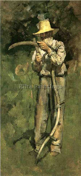 THEODORE ROBINSON MAN WITH SCYTHE ARTIST PAINTING REPRODUCTION HANDMADE OIL DECO