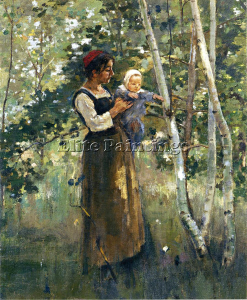 THEODORE ROBINSON MOTHER AND CHILD BY THE HEARTH ARTIST PAINTING HANDMADE CANVAS