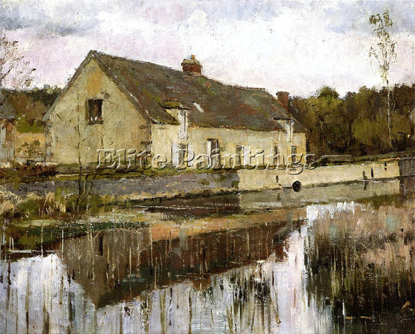 THEODORE ROBINSON ON THE CANAL ARTIST PAINTING REPRODUCTION HANDMADE OIL CANVAS