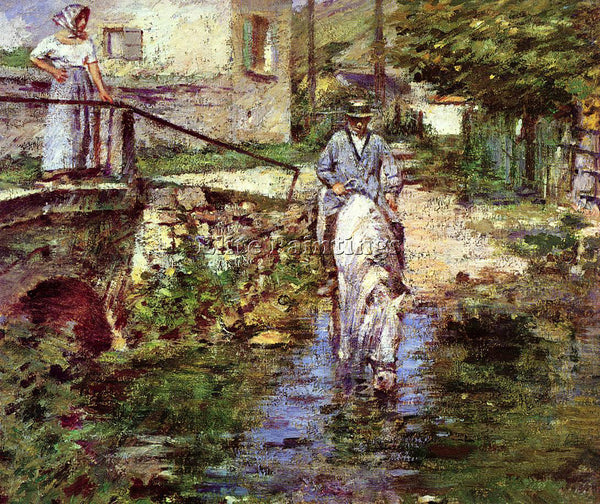 THEODORE ROBINSON PERE TROGNON AND HIS DAUGHTER AT THE BRIDGE PAINTING HANDMADE