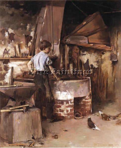 THEODORE ROBINSON THE APPRENTICE BLACKSMITH ARTIST PAINTING HANDMADE OIL CANVAS