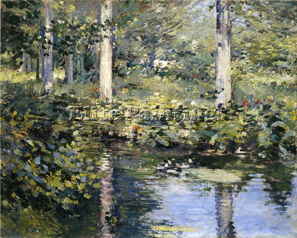 THEODORE ROBINSON THE DUCK POND ARTIST PAINTING REPRODUCTION HANDMADE OIL CANVAS
