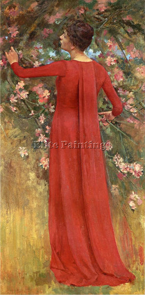THEODORE ROBINSON THE RED GOWN AKA HIS FAVORITE MODEL ARTIST PAINTING HANDMADE