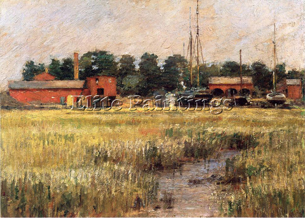 THEODORE ROBINSON THE SHIP YARD ARTIST PAINTING REPRODUCTION HANDMADE OIL CANVAS