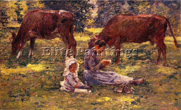 THEODORE ROBINSON WATCHING THE COWS ARTIST PAINTING REPRODUCTION HANDMADE OIL