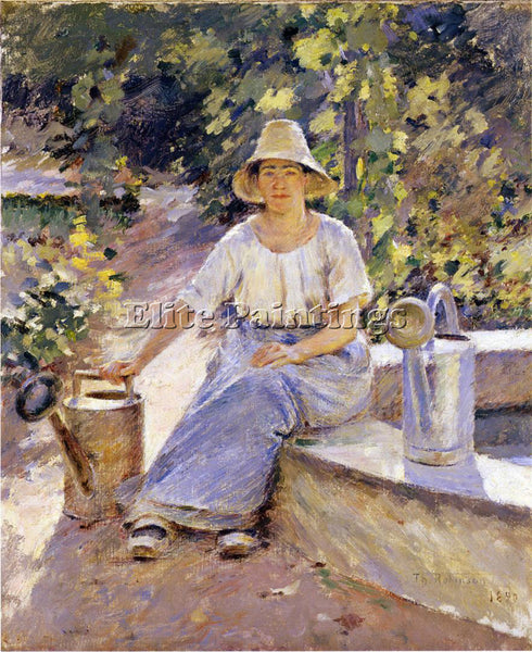 THEODORE ROBINSON WATERING POTS ARTIST PAINTING REPRODUCTION HANDMADE OIL CANVAS