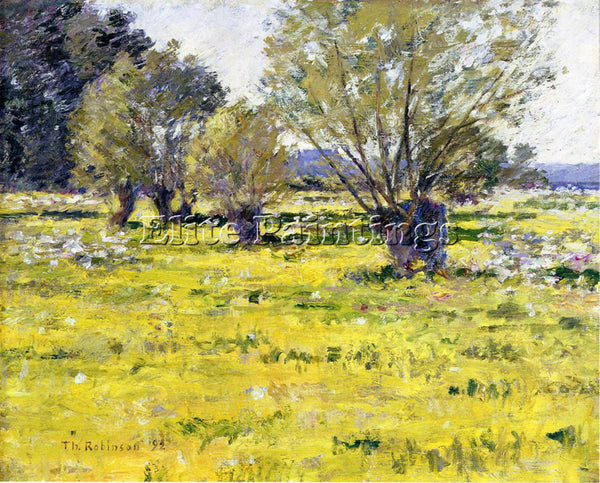 THEODORE ROBINSON WILLOWS AND WILDFLOWERS ARTIST PAINTING REPRODUCTION HANDMADE