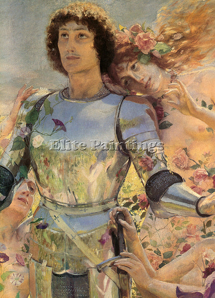 GEORGES ANTOINE ROCHEGROSSE THE KNIGHT OF THE FLOWERS DETAIL LEFT ARTIST CANVAS