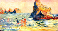 RENOIR ROCK CLIFFS IN GUERNSEY ARTIST PAINTING REPRODUCTION HANDMADE OIL CANVAS