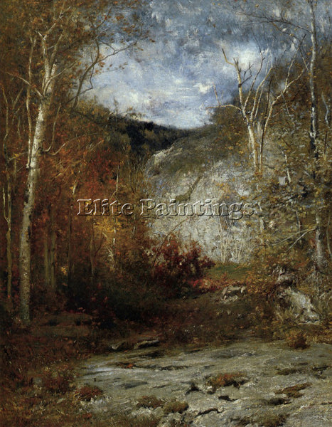 AMERICAN ROCKY LEDGE ADIRONDACKS 1884 ARTIST PAINTING REPRODUCTION HANDMADE OIL