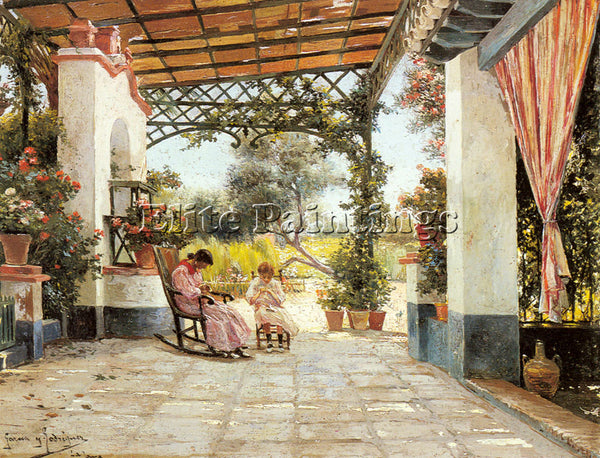 MANUEL GARCIA Y RODRIGUEZ MOTHER AND DAUGHTER SEWING ON A PATIO ARTIST PAINTING