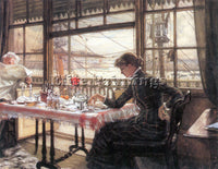 TISSOT ROOM WITH A GLANCE FROM THE PORT ARTIST PAINTING REPRODUCTION HANDMADE