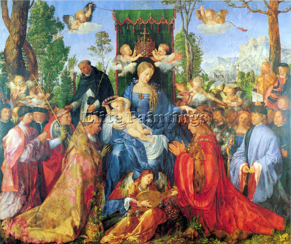 DURER ROSARY ALTAR ARTIST PAINTING REPRODUCTION HANDMADE CANVAS REPRO WALL DECO