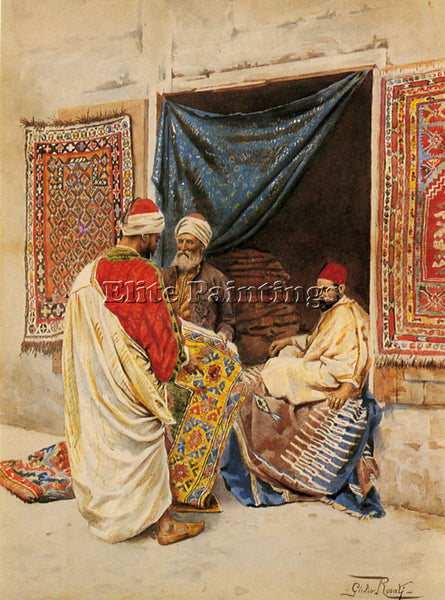 GIULIO ROSATI THE CARPET MERCHANT ARTIST PAINTING REPRODUCTION HANDMADE OIL DECO